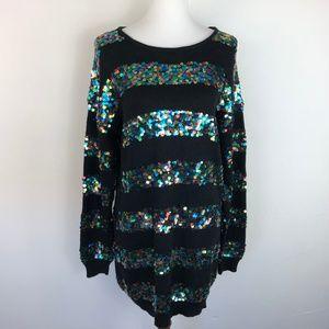 Vintage 80s Black Size Medium Sweater Dress Sequin